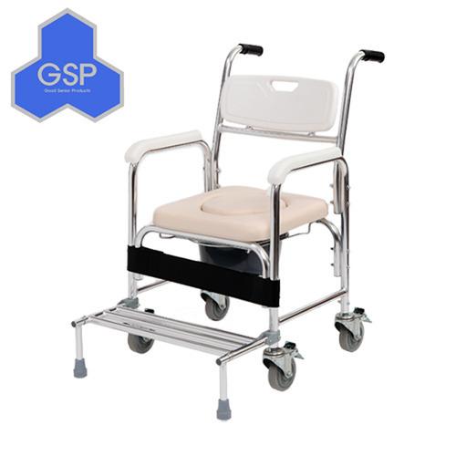 바퀴형목욕의자 KCS-801 (바퀴고정장치,발받침접이형) 이동식변기 환자용변기 의자형변기 환자용품 실버용품 간병용품 노인용목욕의자
